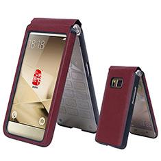 Coque Portefeuille Flip Cuir pour Samsung W(2016) Rouge