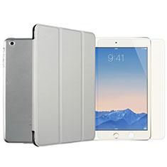 Coque Portefeuille Livre Cuir et Verre Trempe Protecteur d'Ecran pour Apple iPad Mini Argent