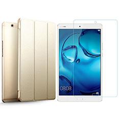 Coque Portefeuille Livre Cuir et Verre Trempe Protecteur d'Ecran pour Huawei MediaPad M3 Or