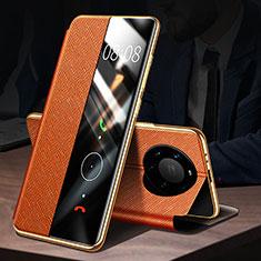Coque Portefeuille Livre Cuir Etui Clapet F02 pour Huawei Mate 40 Pro+ Plus Orange