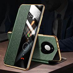 Coque Portefeuille Livre Cuir Etui Clapet F02 pour Huawei Mate 40 Pro Vert
