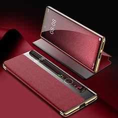 Coque Portefeuille Livre Cuir Etui Clapet K07 pour Huawei Mate 40 Pro Vin Rouge