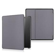 Coque Portefeuille Livre Cuir Etui Clapet L01 pour Amazon Kindle Oasis 7 inch Gris