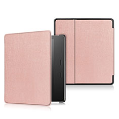 Coque Portefeuille Livre Cuir Etui Clapet L01 pour Amazon Kindle Oasis 7 inch Or Rose