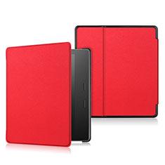 Coque Portefeuille Livre Cuir Etui Clapet L01 pour Amazon Kindle Oasis 7 inch Rouge