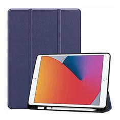 Coque Portefeuille Livre Cuir Etui Clapet L01 pour Apple iPad 10.2 (2020) Bleu