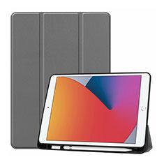 Coque Portefeuille Livre Cuir Etui Clapet L01 pour Apple iPad 10.2 (2020) Gris