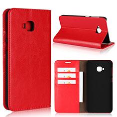 Coque Portefeuille Livre Cuir Etui Clapet L01 pour Asus Zenfone 4 Selfie Pro Rouge