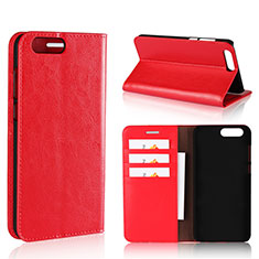 Coque Portefeuille Livre Cuir Etui Clapet L01 pour Asus Zenfone 4 ZE554KL Rouge