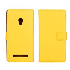 Coque Portefeuille Livre Cuir Etui Clapet L01 pour Asus Zenfone 5 Jaune