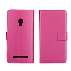 Coque Portefeuille Livre Cuir Etui Clapet L01 pour Asus Zenfone 5 Rose Rouge