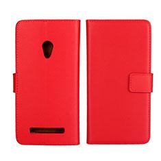 Coque Portefeuille Livre Cuir Etui Clapet L01 pour Asus Zenfone 5 Rouge