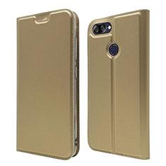Coque Portefeuille Livre Cuir Etui Clapet L01 pour Asus Zenfone Max Plus M1 ZB570TL Or