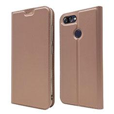 Coque Portefeuille Livre Cuir Etui Clapet L01 pour Asus Zenfone Max Plus M1 ZB570TL Or Rose