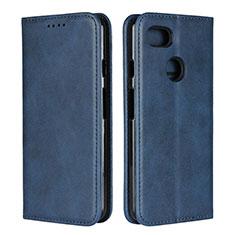 Coque Portefeuille Livre Cuir Etui Clapet L01 pour Google Pixel 3 Bleu