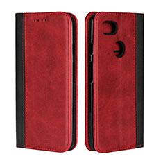 Coque Portefeuille Livre Cuir Etui Clapet L01 pour Google Pixel 3 XL Rouge
