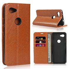 Coque Portefeuille Livre Cuir Etui Clapet L01 pour Google Pixel 3a XL Orange