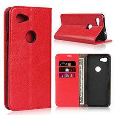 Coque Portefeuille Livre Cuir Etui Clapet L01 pour Google Pixel 3a XL Rouge