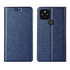 Coque Portefeuille Livre Cuir Etui Clapet L01 pour Google Pixel 5 Bleu