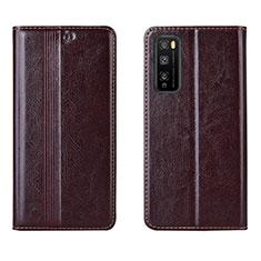 Coque Portefeuille Livre Cuir Etui Clapet L01 pour Huawei Enjoy 20 Pro 5G Marron