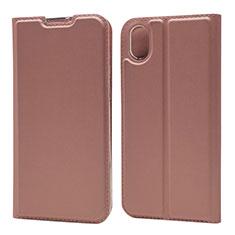 Coque Portefeuille Livre Cuir Etui Clapet L01 pour Huawei Enjoy 8S Or Rose