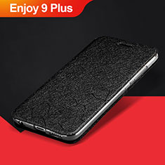 Coque Portefeuille Livre Cuir Etui Clapet L01 pour Huawei Enjoy 9 Plus Noir