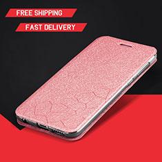 Coque Portefeuille Livre Cuir Etui Clapet L01 pour Huawei Enjoy 9 Plus Or Rose