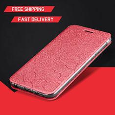 Coque Portefeuille Livre Cuir Etui Clapet L01 pour Huawei Enjoy 9 Plus Rouge