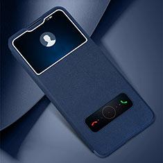 Coque Portefeuille Livre Cuir Etui Clapet L01 pour Huawei Honor 30 Lite 5G Bleu