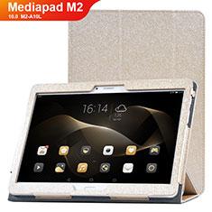 Coque Portefeuille Livre Cuir Etui Clapet L01 pour Huawei MediaPad M2 10.0 M2-A10L Or
