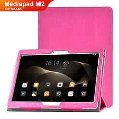 Coque Portefeuille Livre Cuir Etui Clapet L01 pour Huawei MediaPad M2 10.0 M2-A10L Rose Rouge