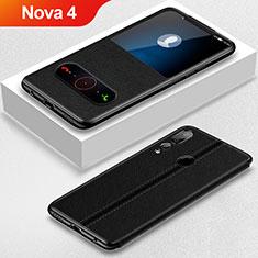 Coque Portefeuille Livre Cuir Etui Clapet L01 pour Huawei Nova 4 Noir