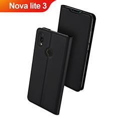 Coque Portefeuille Livre Cuir Etui Clapet L01 pour Huawei Nova Lite 3 Noir