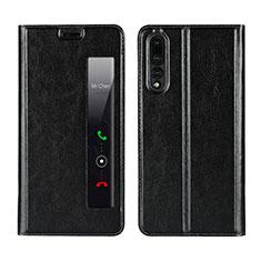 Coque Portefeuille Livre Cuir Etui Clapet L01 pour Huawei P20 Pro Noir