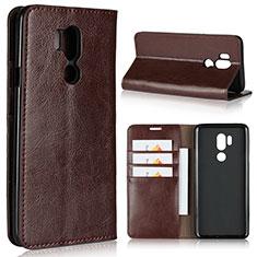 Coque Portefeuille Livre Cuir Etui Clapet L01 pour LG G7 Marron