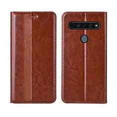 Coque Portefeuille Livre Cuir Etui Clapet L01 pour LG K41S Brun Clair