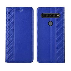Coque Portefeuille Livre Cuir Etui Clapet L01 pour LG K51S Bleu