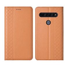 Coque Portefeuille Livre Cuir Etui Clapet L01 pour LG K51S Orange