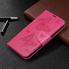 Coque Portefeuille Livre Cuir Etui Clapet L01 pour LG K61 Rose Rouge
