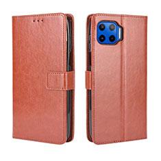 Coque Portefeuille Livre Cuir Etui Clapet L01 pour Motorola Moto G 5G Plus Marron