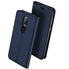 Coque Portefeuille Livre Cuir Etui Clapet L01 pour Nokia 6.1 Plus Bleu