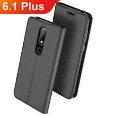 Coque Portefeuille Livre Cuir Etui Clapet L01 pour Nokia 6.1 Plus Noir