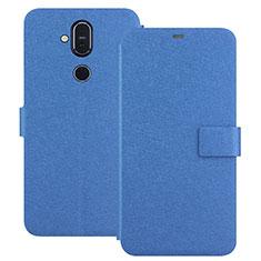 Coque Portefeuille Livre Cuir Etui Clapet L01 pour Nokia 7.1 Plus Bleu