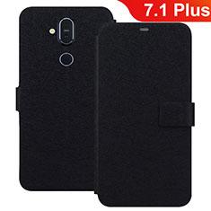Coque Portefeuille Livre Cuir Etui Clapet L01 pour Nokia 7.1 Plus Noir