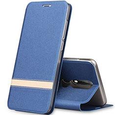 Coque Portefeuille Livre Cuir Etui Clapet L01 pour Nokia X5 Bleu