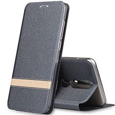 Coque Portefeuille Livre Cuir Etui Clapet L01 pour Nokia X5 Gris