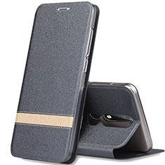 Coque Portefeuille Livre Cuir Etui Clapet L01 pour Nokia X5 Gris Fonce