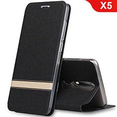 Coque Portefeuille Livre Cuir Etui Clapet L01 pour Nokia X5 Noir