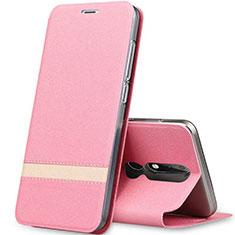 Coque Portefeuille Livre Cuir Etui Clapet L01 pour Nokia X5 Or Rose