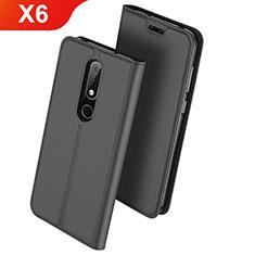 Coque Portefeuille Livre Cuir Etui Clapet L01 pour Nokia X6 Noir
